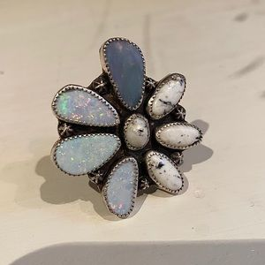 Opal and White Buffalo Blossom Out Ring